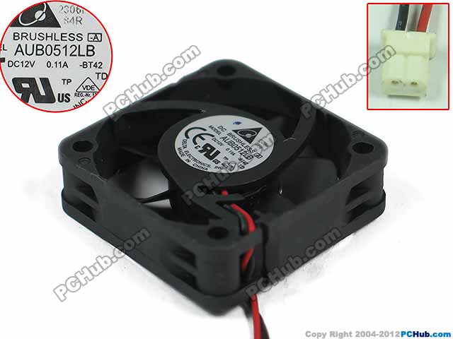 Delta AUB0512LB BT42 DC 12V 0.11A 50x50x15mm Server Square fan