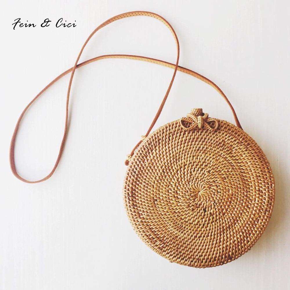 Пляжная сумка круглый соломенные сумки круг ротанга сумка Для женщин маленький богемный Сумки Лето 2018 ручной работы Crossbody кожи плеча