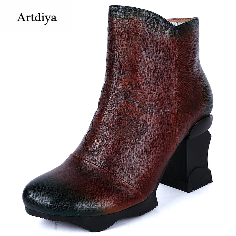 Artdiya 2018 new handmade genuine leather boots first layer of leather classic pattern high heels women ankle boots 8062-130 цены онлайн