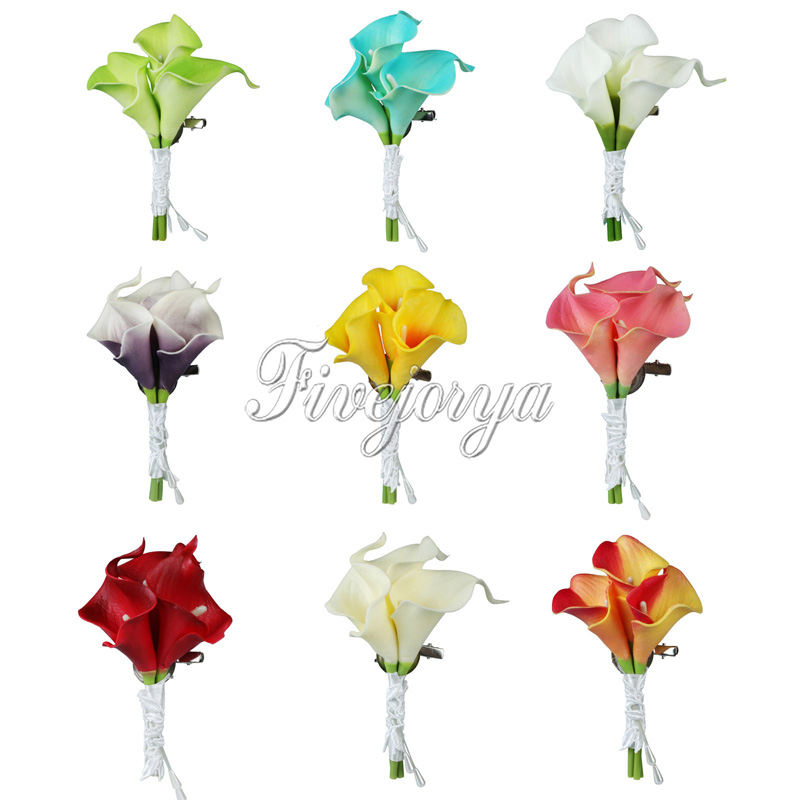 5Pcs Wedding Calla Lily Corsage Bridal Brooch artificial Flower Bouquet Boutonniere Corsage Groom Groomsman Wedding Decor
