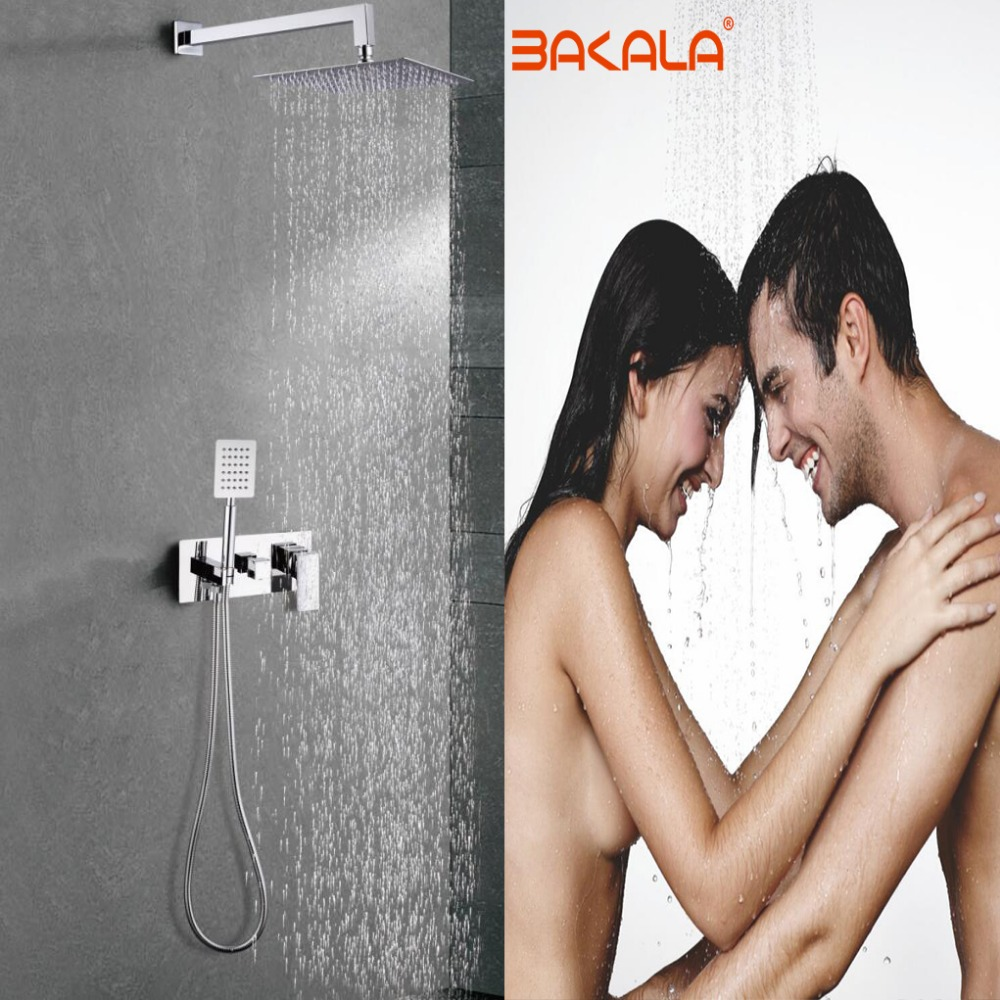 HTB17VSnpL5TBuNjSspcq6znGFXaD BAKALA New product Hot and cold shower Brass In Wall shower 2 function dark shower set Bathroom stainless steel shower faucet