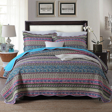 CHAUSUB Cotton Quilt Set 3-Piece Bedspread Bohemian Printed Quilts Bed Cover Pillowcase*2 King Queen Size Coverlets 50