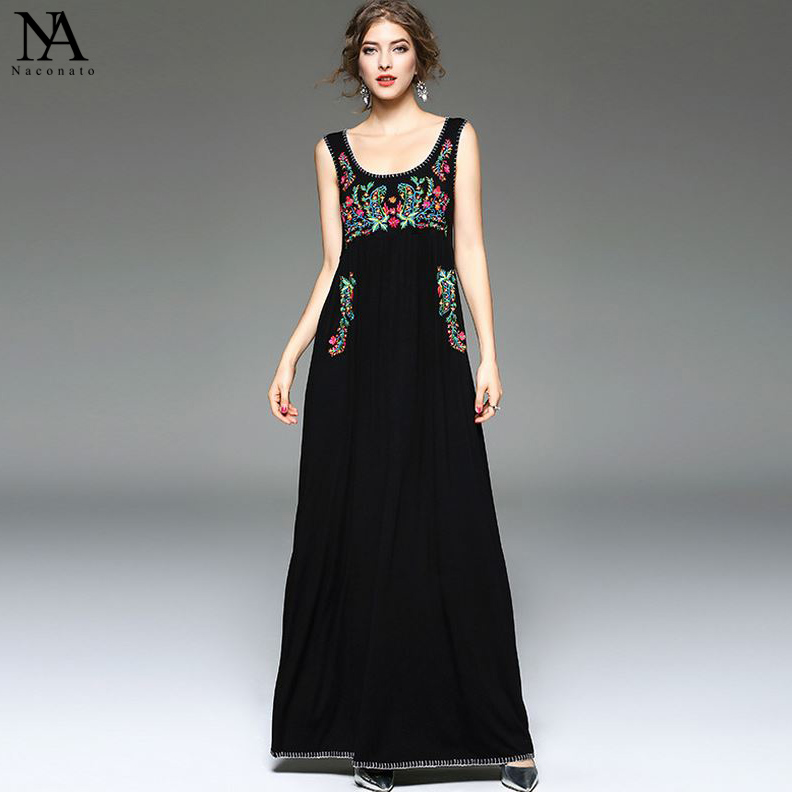 New Arrival 2018 Summer Womens O Neck Sleeveless Embroidery Floral High Street Casual Cotton Long Dresses