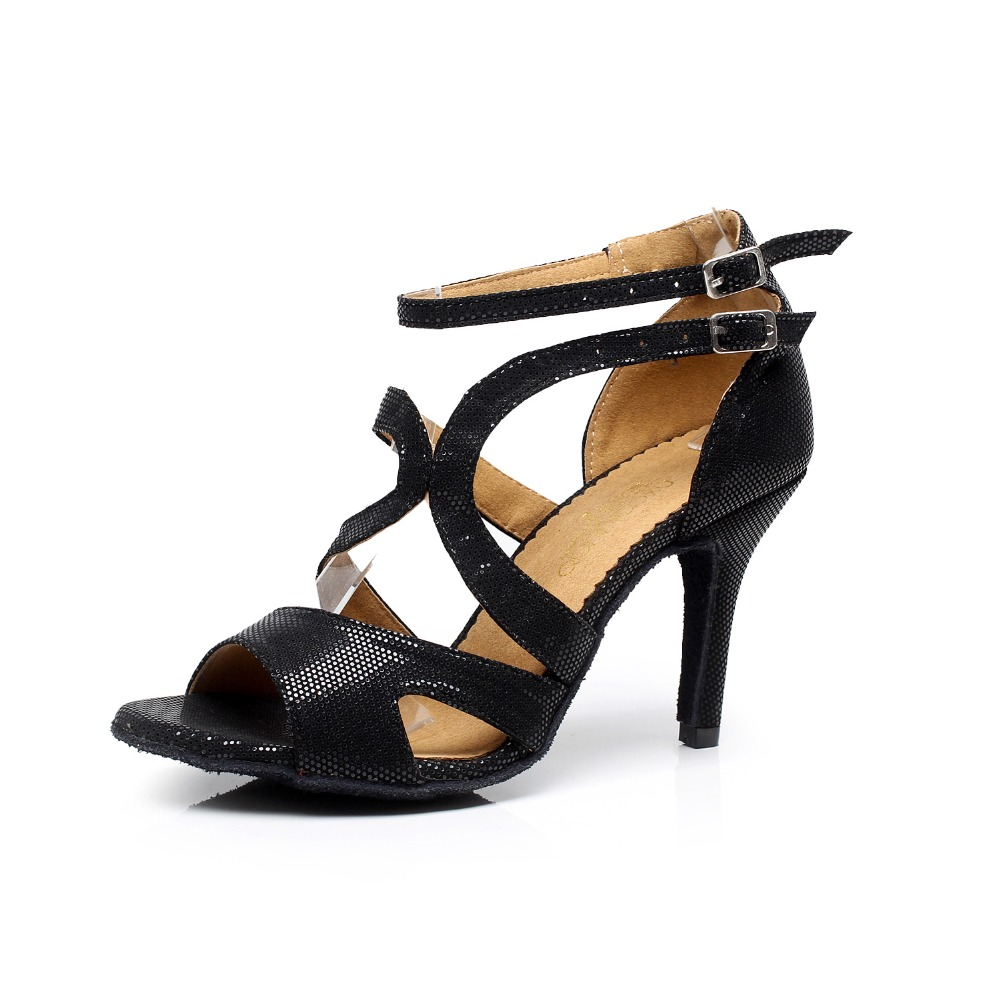 Woman Ballroom Latin Dance Shoes Black Salsa Shoes Female Tango Social Dance Shoes High Heel 6/7.5/8.5/10cm 1636