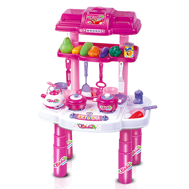 EFHH Simulation Children Pretend Play Game Set Toy Kitchen Toys Set for Baby Kids Girl with Sound Flash LH107660 Free Shipping pizza balance game pile up balancing desktop toy pretend play food small family plastic building blocks toys for children