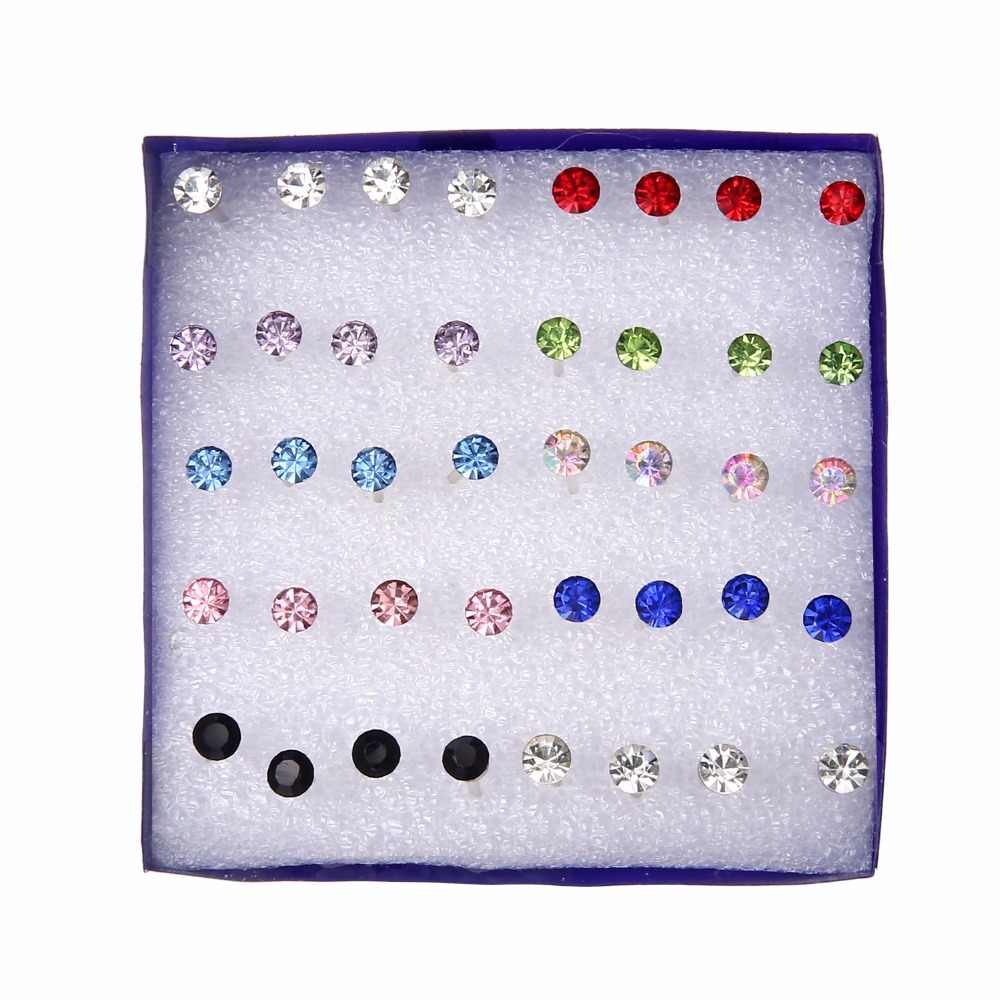 20 pairs/set Colorful Crystal Stud Earrings Set For Women Jewelry Rhinestones Piercing Earrings kit Pack lots Bijouteria brincos