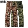 Inverno shark pele revestimento de escudo macio ao ar livre tático militar camuflagem calças dos homens do exército camo caça caminhada impermeáveis térmicas calças de lã