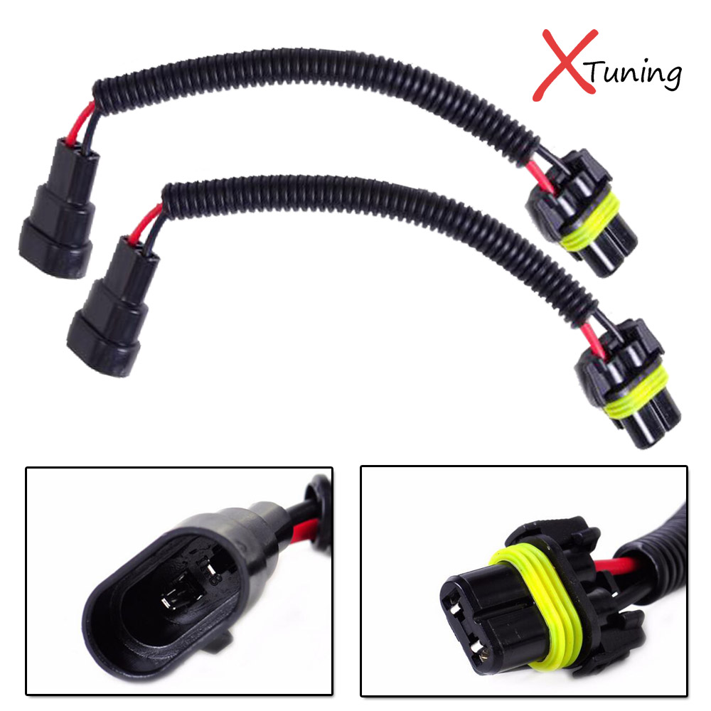 2pcs 9006 hb4 extension wiring harness sockets cable for headlights fog lights [ 1000 x 1000 Pixel ]