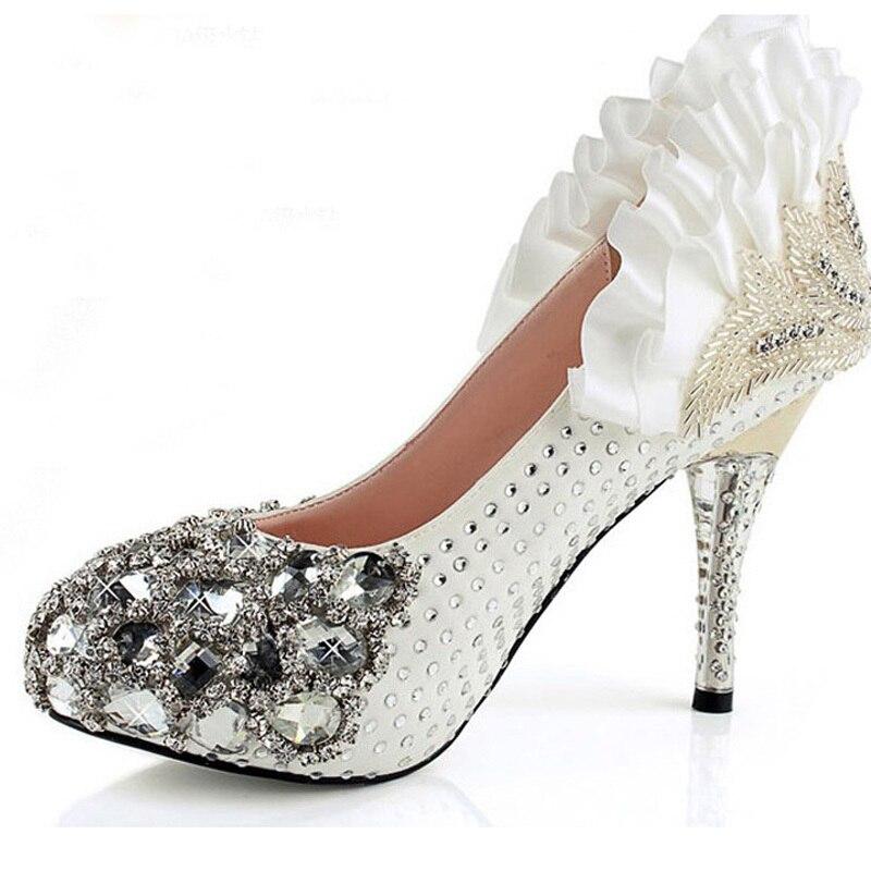 Fashion Wedding Bridal Shoes Red White Rhinestone High Heels Bridal Prom Dress Shoes Christmas Party Prom