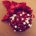 Новый 2016 Свадебный Букет Дешевые Красный Букет Невесты Свадебные Цветы Свадебные Букеты Искусственные букет де брак
