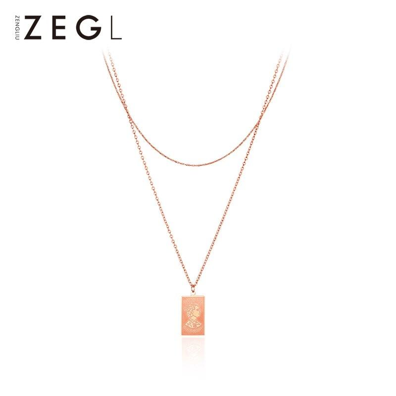 ZEGL çift katmanlı kolye aşk kolye klavikula zincir katmanlı kolye bayan kolye|Sallantılı kolye|Takı ve Aksesuarları -