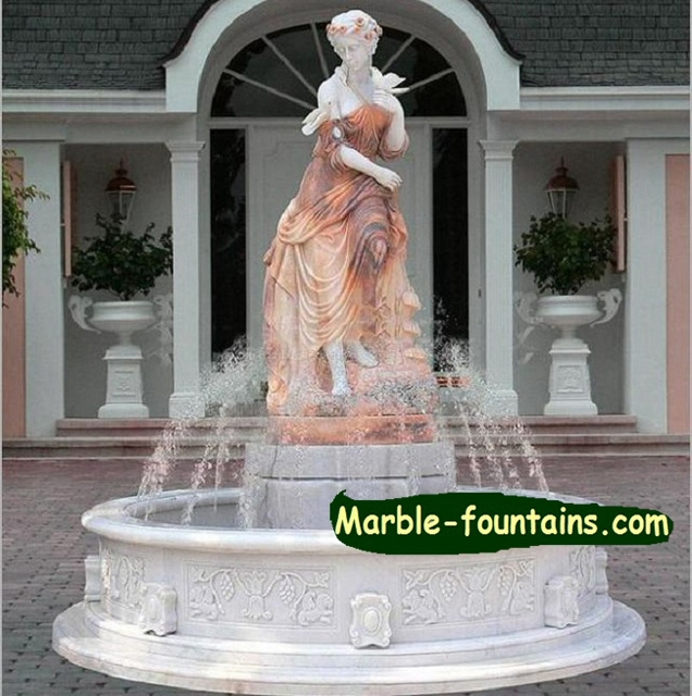 Front Yard Fountains With Beautiful Statues Of Dess Small Marble Optional Pool