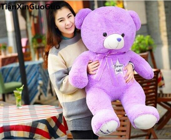Peluche remplie grand 100 cm violet ours en peluche peluche jouet fleur étoiles ours doux poupée jeter oreiller cadeau de noël h1449