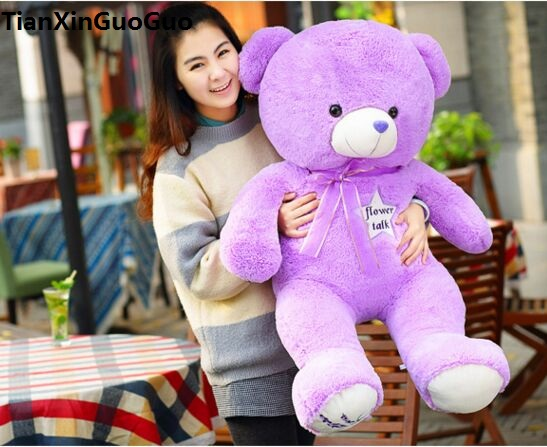 filled plush toy large 100cm purple teddy bear plush toy flower stars bear soft doll throw pillow Christmas gift h1449 stuffed animal 120 cm cute love rabbit plush toy pink or purple floral love rabbit soft doll gift w2226