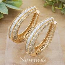Newness Luxury Round Circle Full Micro Cubic Zirconia Gold Color Wedding Jewelry Women Copper Ear Piercings Accessories