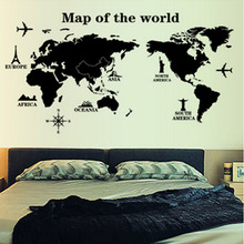 Mapa Of The World pared pegatinas decoración del hogar negro Adesivo De Parede PVC extraíble vinilos paredes Home Decor Wallpaper