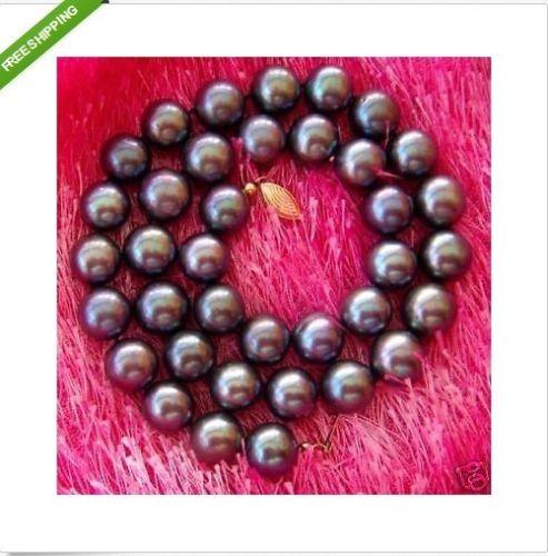 Vente chaude nouveau Style> 10-11 MM TAHITI AAA + + + NOIR Perle Collier bon 18 POUCE