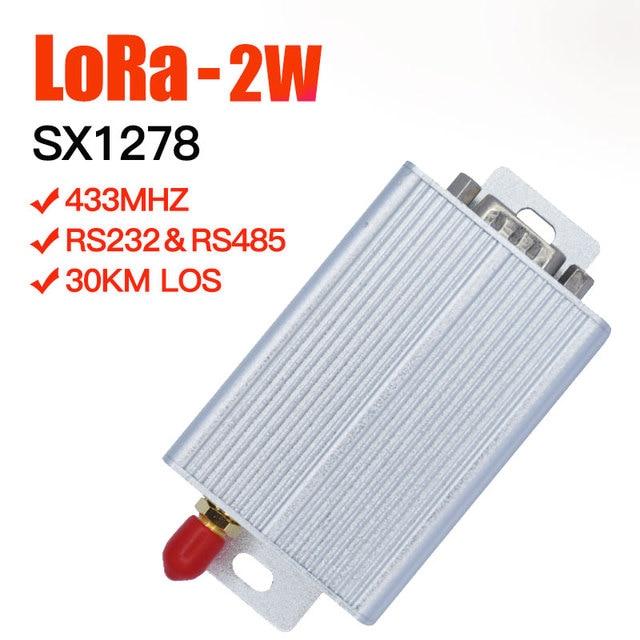 Lora módulo transceptor de alta potencia VHF 433, 2W, 30KM, receptor de comunicaciones de largo alcance y transmisor, 433mhz, módulo SX1278 LoRa