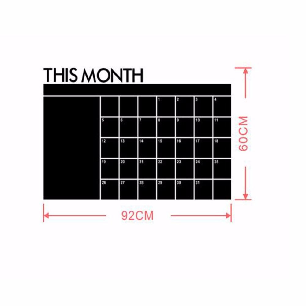 1 Pc/Pack Creative Removable 60cmX92cm Month Calender Planer Blackboard For School Stationery & Office & Home