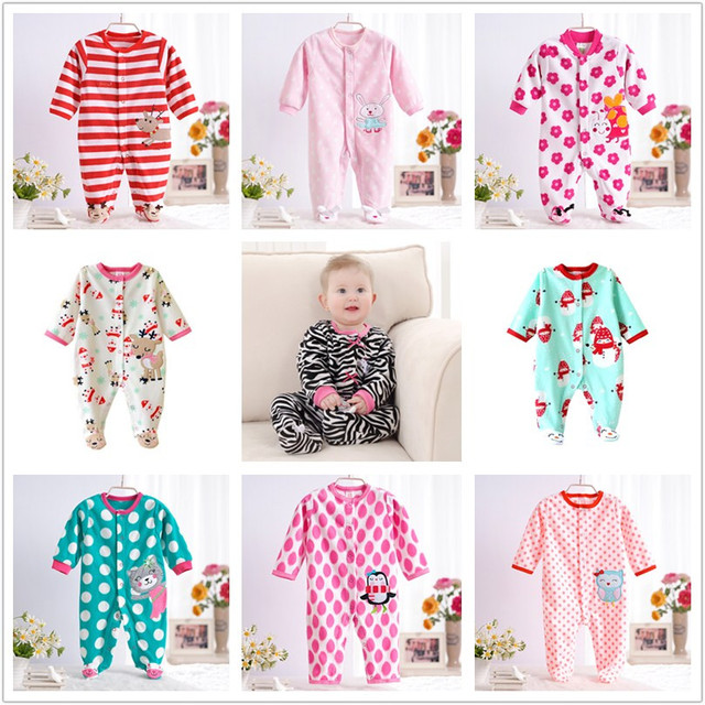 0-12M Autumn Fleece Baby Rompers Cute Pink Baby Girl Boy Clothing Infant Baby Girls Clothes Jumpsuits Footed Coverall V20