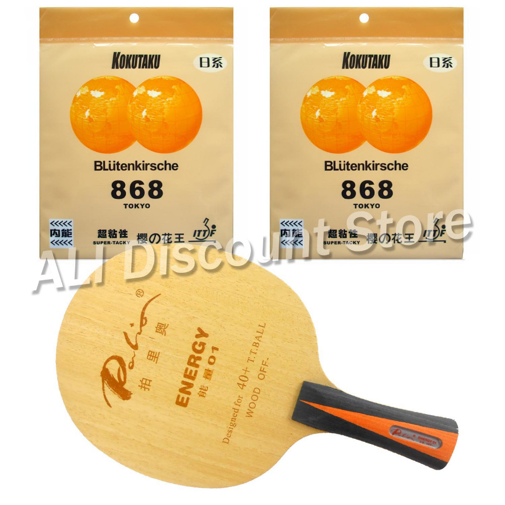 Palio ENERGY 01 Blade with 2x KOKUTAKU BLutenkirsche 868 Tokyo Rubbers for a Table Tennis Combo Racket FL