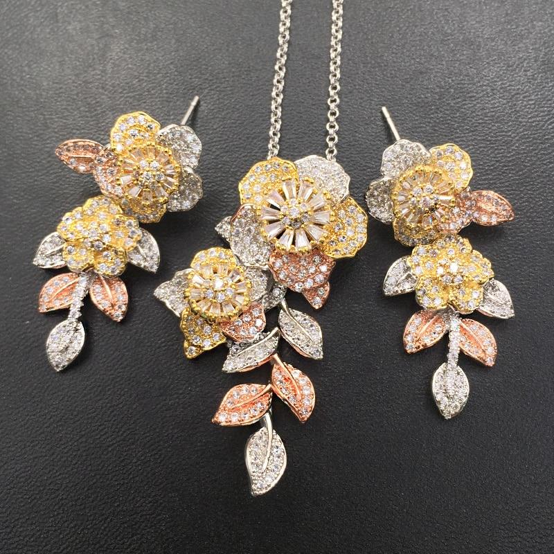 Набор ювелирных изделий Lanyika, изящный яркий цветок с листовой цирконием, ожерелье с микро покрытием и серьги, женский свадебный подарок|Ювелирные наборы| | АлиЭкспресс