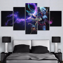 5 Piece Game Poster Wall Paintings Vengeful Spirit DOTA 2 Video Canvas Art for Home Decor