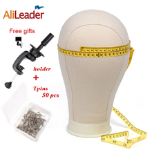 Alileader 21-25 Canvas Block Head Manequin Wig Stand For Styling Display Making Wigs With Table Clamp/Pins Tools