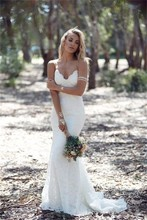 Vestidos De Noiva 2017 Romantic Wedding Dresses Backless V-Neck Sleeveless Lace Applique Sweep Train Mermaid Bridal Dress Gown