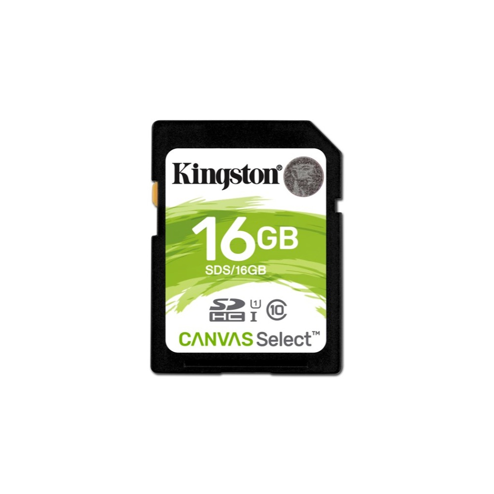 Kingston Technology Canvas Select, 16 GB, SDHC, Class 10, UHS-I, 80 MB/s, Black