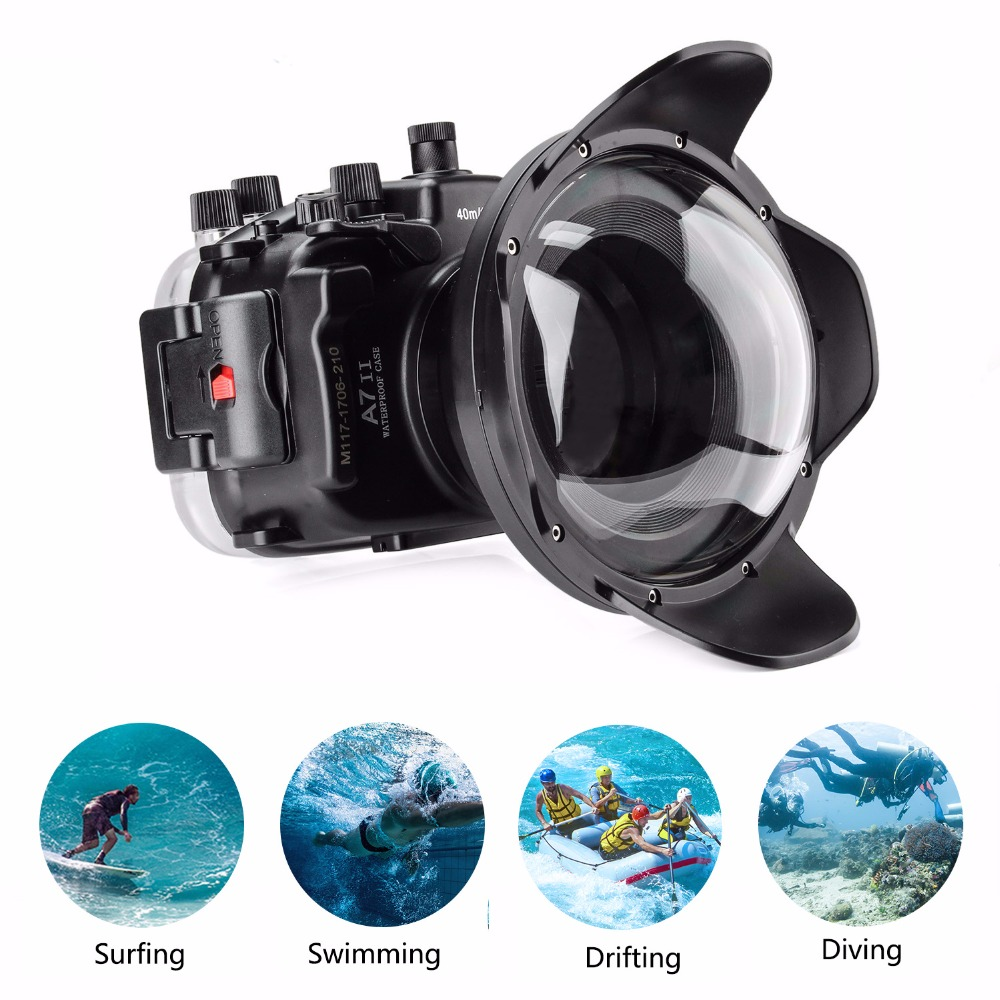 Meikon 40m/130ft Waterproof Housing Case For Sony A7 II A7R II A7S II /w Dome Port Lens Diving case for Sony A7II A7RII A7SII Camera/Video Bags    - title=