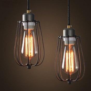 Rural Pastoral Style Loft Pendant Lights Creative Iron Cage Industrial Style Pendant Lighting Coffee Shop Vintage Pendant Lamp