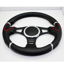 Hsanzeo JDM 14 Inch Steering Wheel Genuine Suede Leather Steering Wheel black Stitch Modified Racing Car Universal