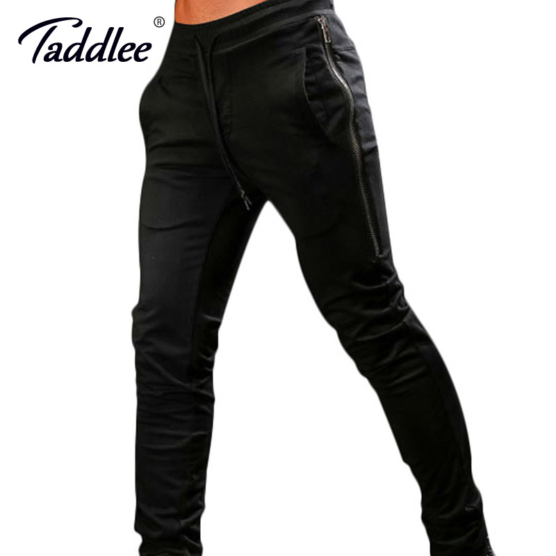 Taddlee Brand Mens Joggers Pants Sports GYM Fitness Trousers Running Active Slim Fit Bottoms Skinny Man SweatPants with Pocket fashion mens dot painted jeans pants slim fit straight printed denim joggers man ink splash black jean trousers brand designer