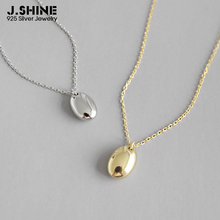 JShine Minimalist 925 Sterling Silver Oval Glossy Pendant Necklaces Korean Fashion Clavicle Chain for Women Fine Jewelry