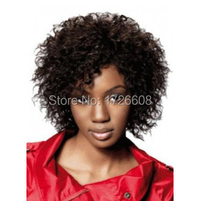 Brazilian Short Lace Net Wigs Brown Hair Wavy Style For Black Women Afro Kinky Curly Without Bangs Deep Curl Full Head Wig