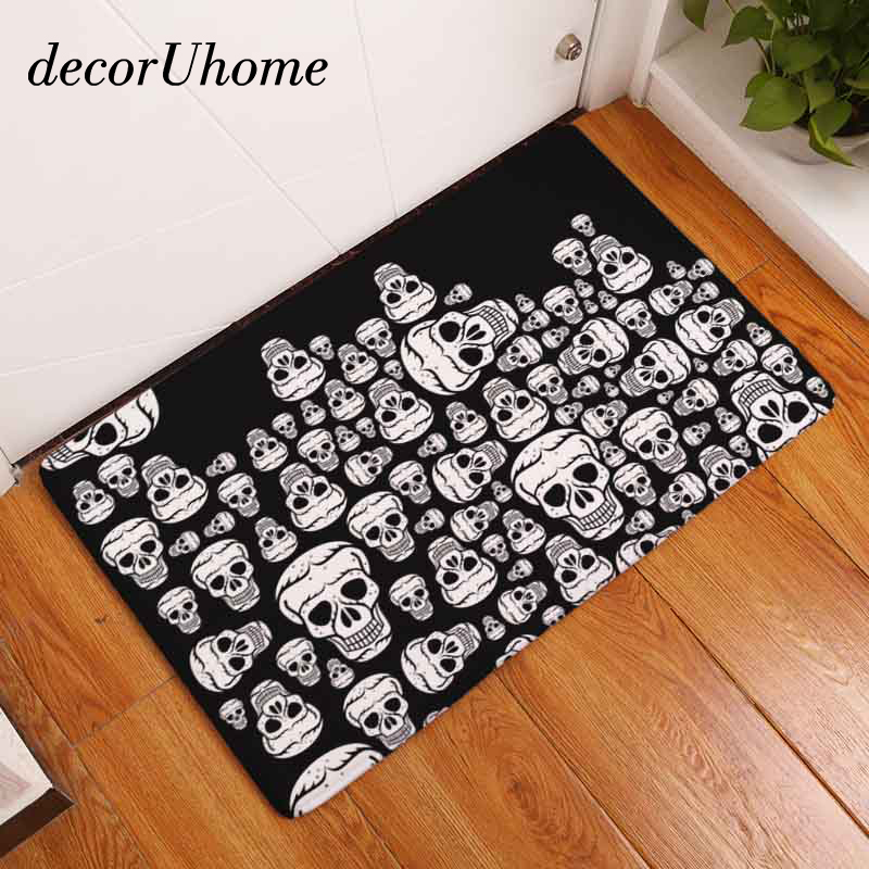 decorUhome Nordic Flannel Waterproof Door Mat Halloween Skull Cartoon Carpet Bedroom Rug Decorative Stair Mats Home Decor Crafts