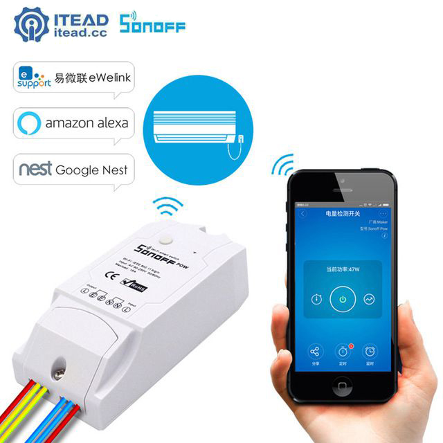 Itead Sonoff Pow Smart Wifi Switch APP Real Time Power Consumption Measurement 16A 3500w Smart Home Device Via IOS Android APP eu us smart home remote touch switch 1 gang 1 way itead sonoff crystal glass panel touch switch touch switch wifi led backlight
