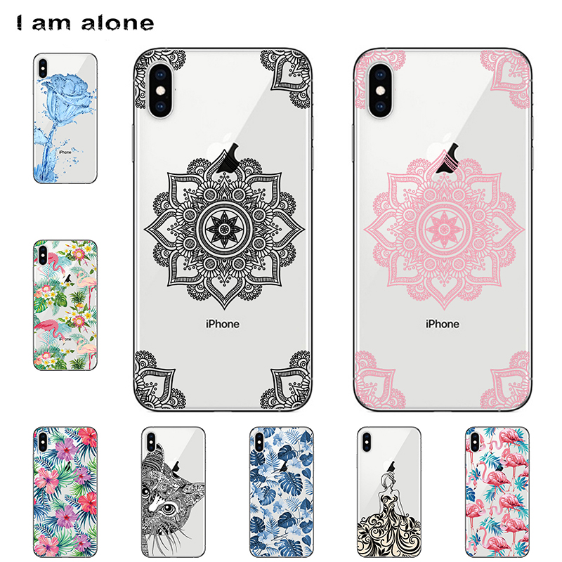 I am alone Phone Cases For Apple iPhone 8 Plus 6 7 X 4 5 S Mobile Solf TPU Color Fashion Cover For iPhone XS Max Free Shipping