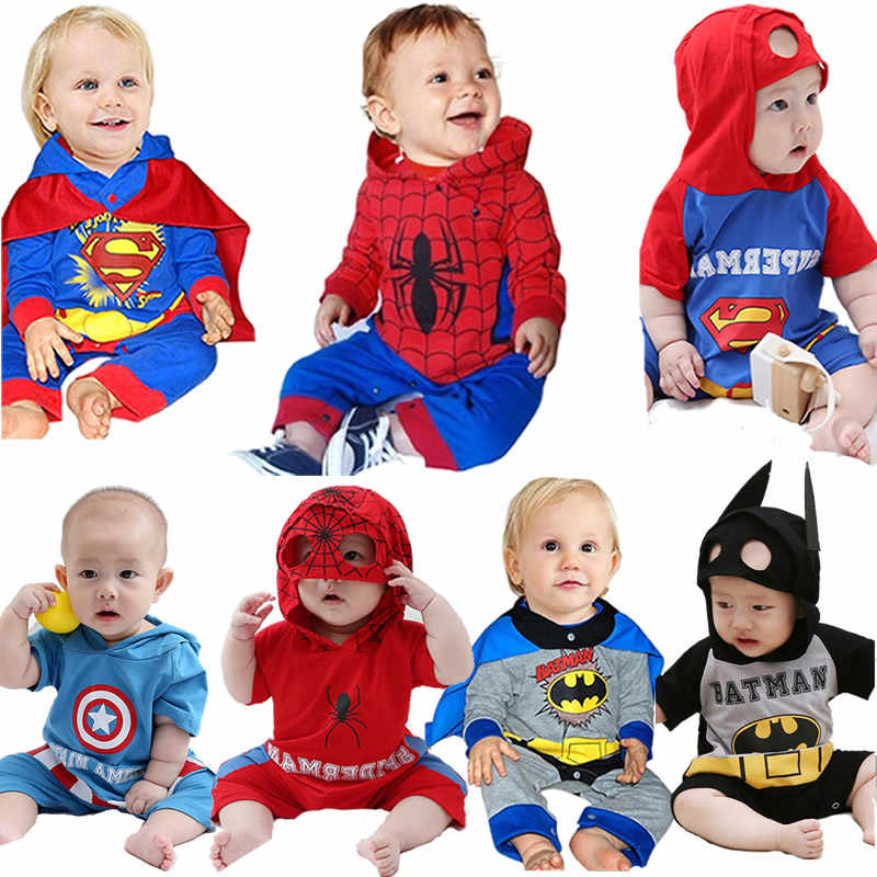 Baby Super Hero Dress Up Romper Toddler Spider Man Onesie Infant Bat Man Jumpsuit Baby Boy Cartoon Print Sets Baby Girl clothes