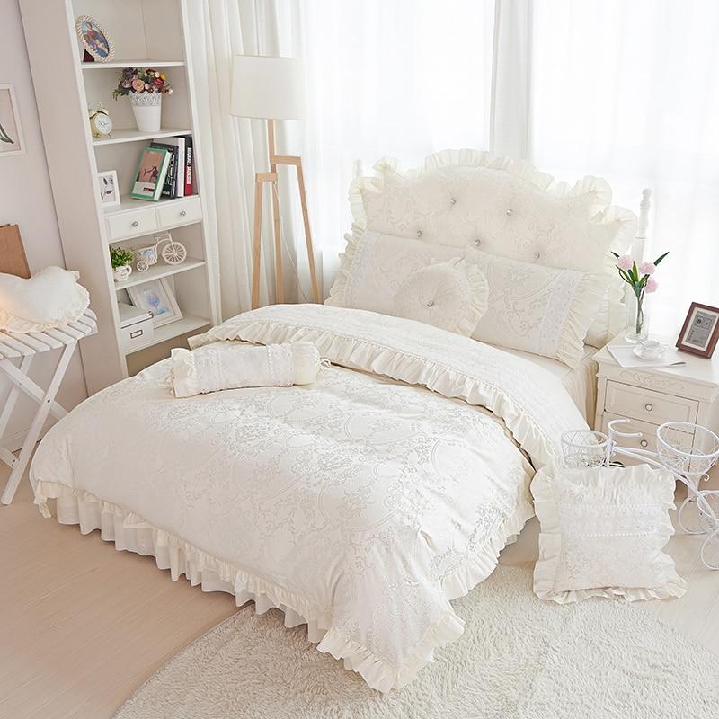 beige jacquard satin bedding sets 4pcs princess lace ruffles bedspread duvet cover bedclothes. Black Bedroom Furniture Sets. Home Design Ideas