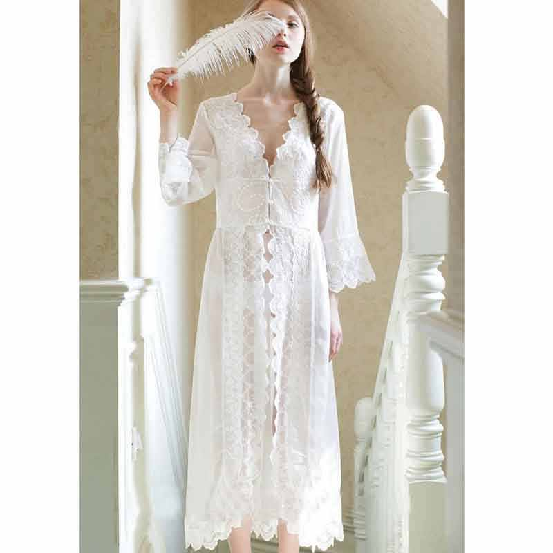 ... Women s Sexy Lace V Neck Nightdress Summer Vintage Cotton White  Nightgowns Home Sleeping Dress For Women ... fdea479f5