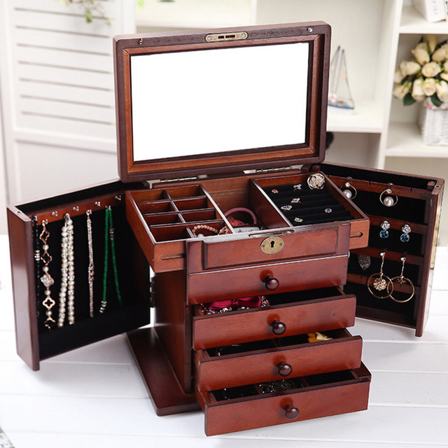 Case Necklace Rings Jewelry Holder Storage Organizer Case Jewelry Display Gift Box Beauty Vanity Drawer Jewelry