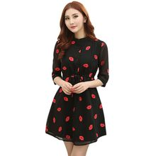 Spring Summer Women 3/4 Sleeve Chiffon Dress Red Lips Printed Cozy Casual Slim Temperament Slim Dresses Size S-XXL Y8664