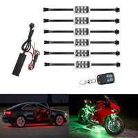 RGB LED Wireless Remote Control Car Motorcycle Light Atmosphere Lamp with Smart Brake Light Accent Neon Style Light Set