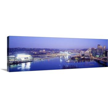 Canvas Wall Art Blue color with City and River Print Photo On Canvas Home Decor Drop shipping