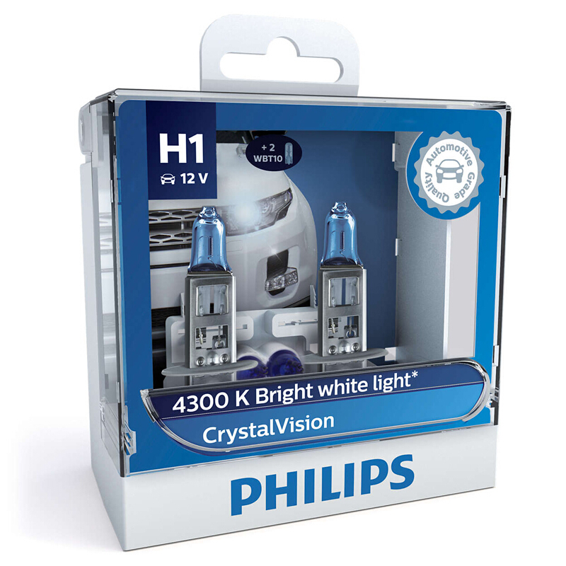 Philips Car-Bulbs Halogen Headlight Crystal Vision Bright H7 9005 4300K HB4 HB3 H11 12V