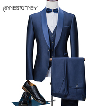 2018 Navy Blue Formal Wedding Suits for Men Satin Shawl Lapel Slim Fit Groom Tuxedo Retros Blazer 3 Pieces Ternos Masculino