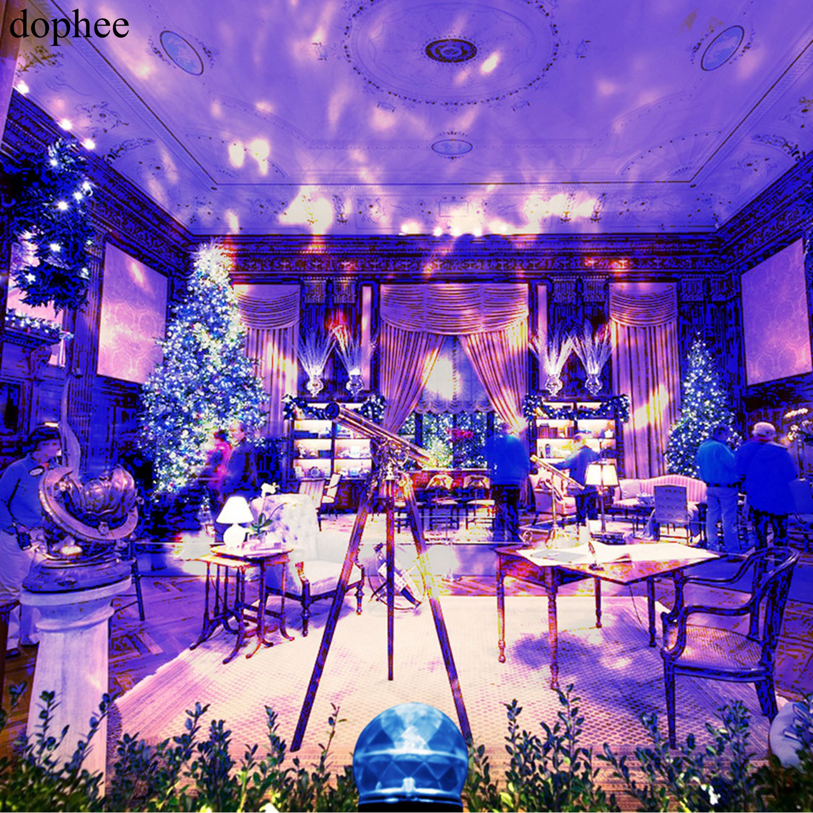 dophee Outdoor Projector Lights IP44 Waterproof and Warm + blue colour LED for Christmas Birthday Party, Holiday decoration.