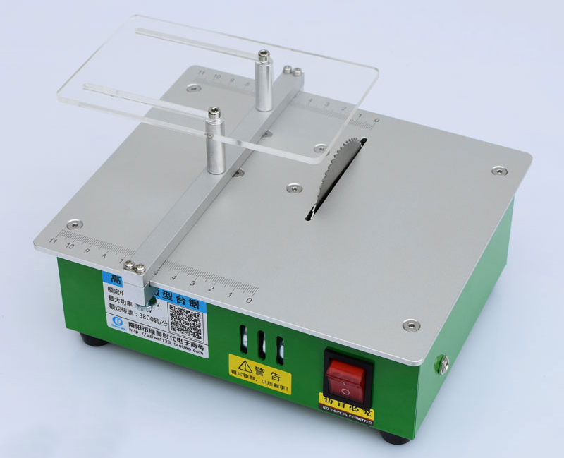 Mini Table Saw Acrylic PCB Cutting Machine DIY Wood Cutter with 2pcs Blades